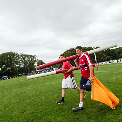 Venue Team Installing Goal Posts