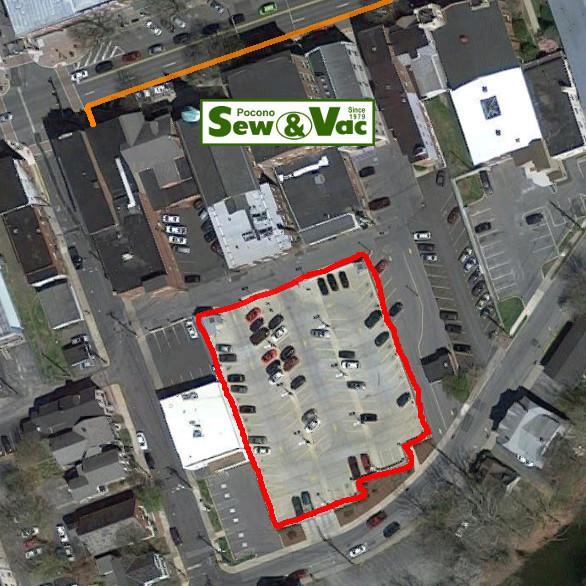 Overview of Pocono Sew and Vac with where to park overlayed