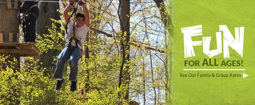 A kid smiling on the zip line