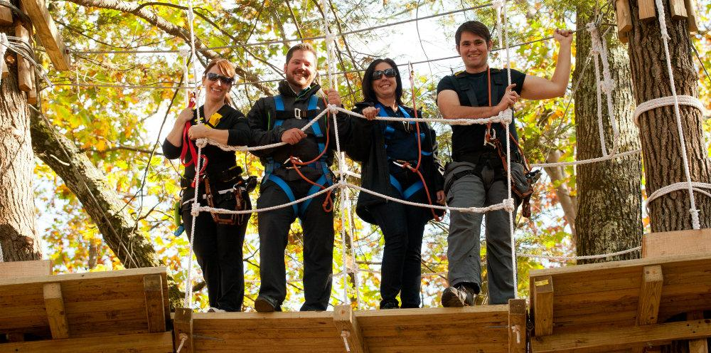 Zip Line Four Folks in Fall