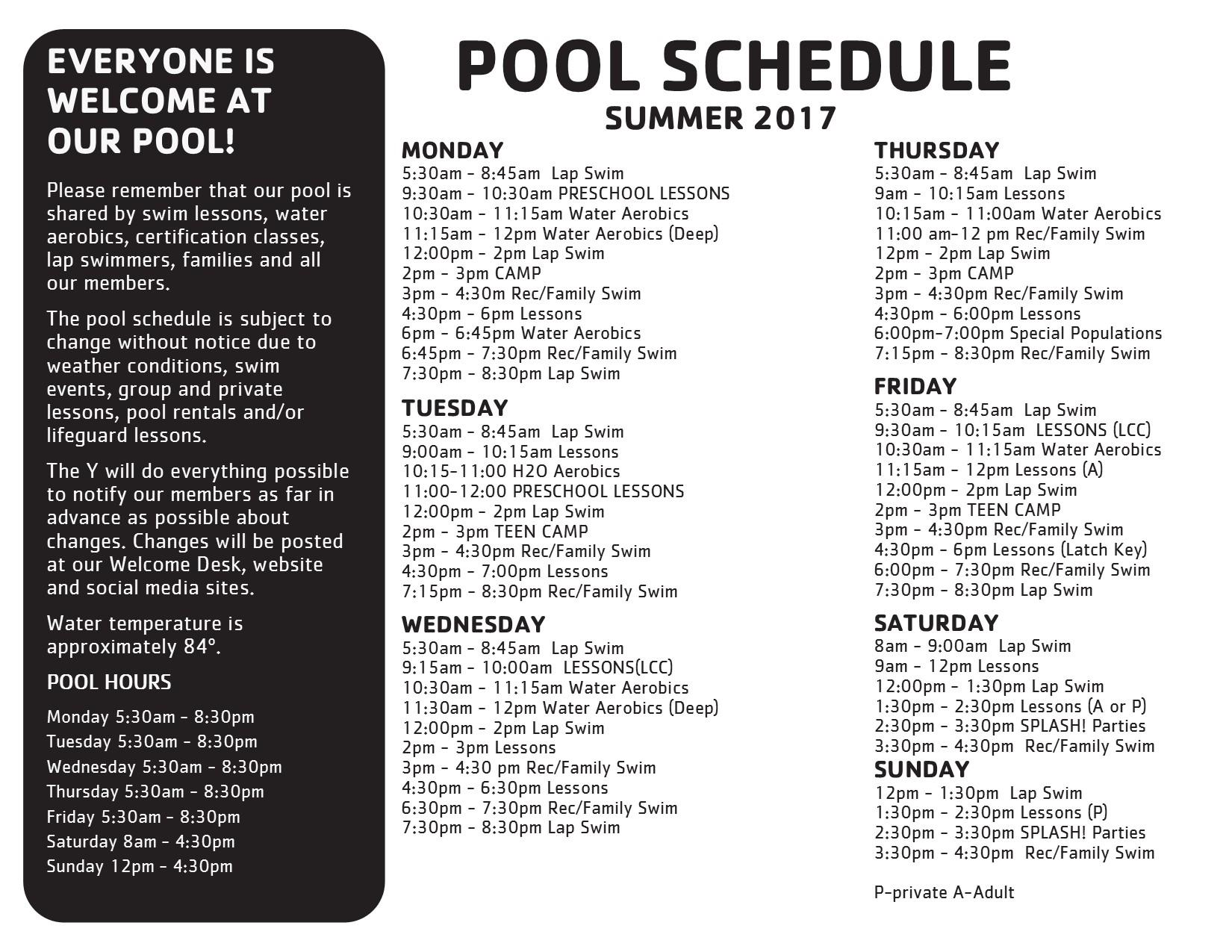 Pool Schedule Pocono Family Ymca Stroudsburg Pa Swimming Basketball Zumba Gym